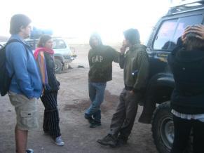 Pablo e Marina (Argentina), Roberto e Oscar (Venezuela) no Salar de Uyuni