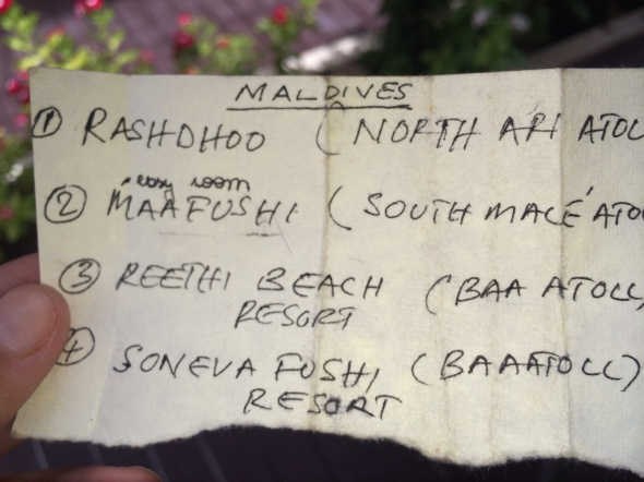 O famoso guardanapo esboçado em Goa. Alguém aí lembrou do filme A Praia?